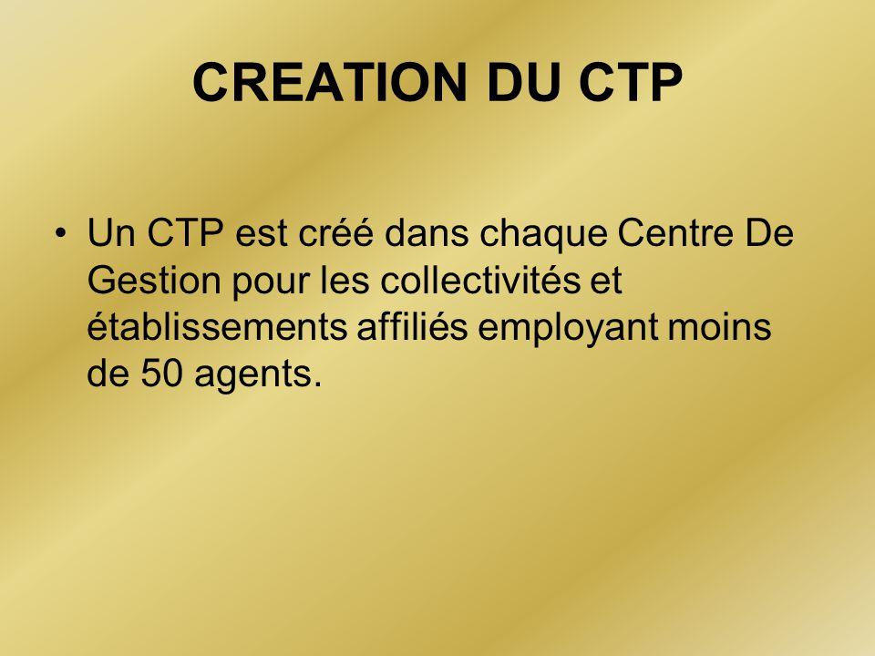 CREATION DU CTP Un CTP est créé dans chaque Centre De Gestion pour les collectivités et établissements affiliés employant moins de 50 agents.