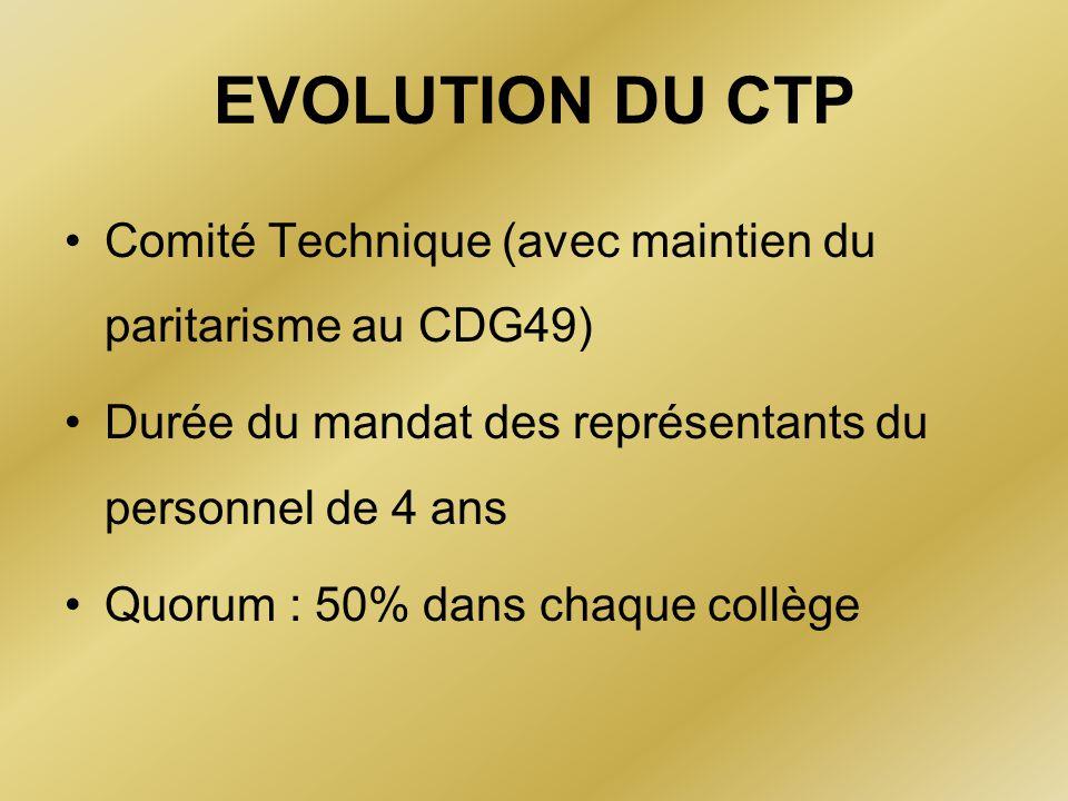 EVOLUTION DU CTP Comité Technique (avec maintien du paritarisme au CDG49) Durée du mandat des représentants du personnel de 4 ans Quorum : 50% dans ch