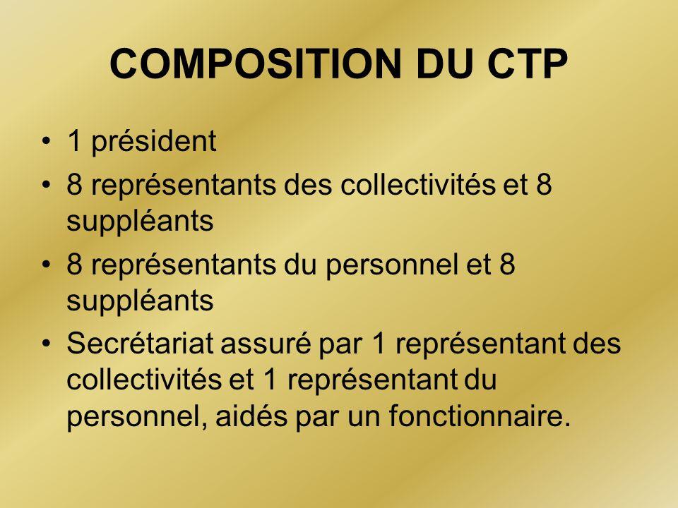 COMPOSITION DU CTP 1 président 8 représentants des collectivités et 8 suppléants 8 représentants du personnel et 8 suppléants Secrétariat assuré par 1
