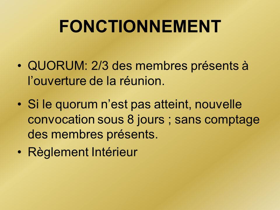 FONCTIONNEMENT QUORUM: 2/3 des membres présents à l'ouverture de la réunion. Si le quorum n'est pas atteint, nouvelle convocation sous 8 jours ; sans