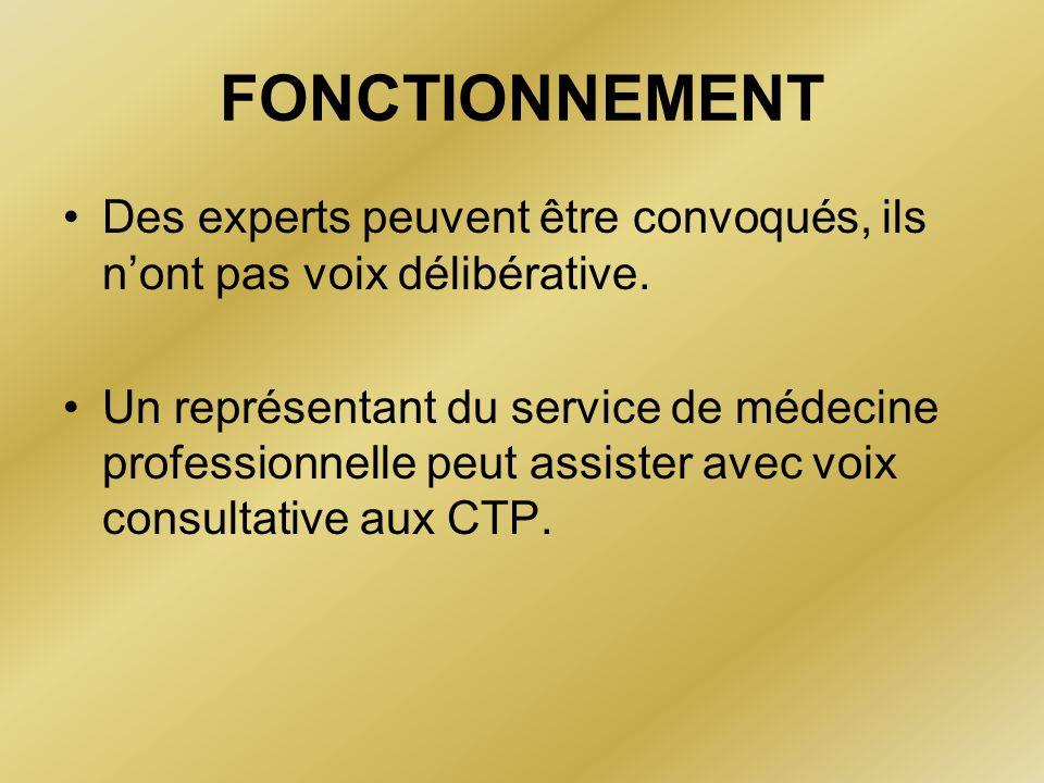 FONCTIONNEMENT Des experts peuvent être convoqués, ils n'ont pas voix délibérative. Un représentant du service de médecine professionnelle peut assist
