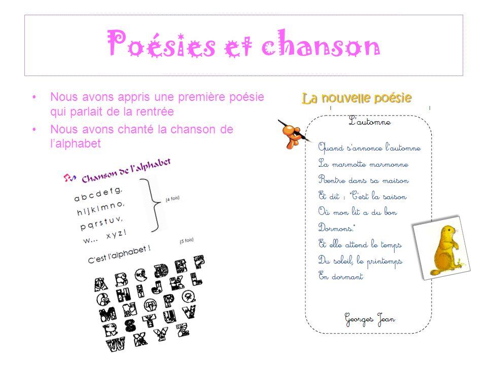 Poésies et chanson Nous avons appris une première poésie qui parlait de la rentrée Nous avons chanté la chanson de l'alphabet La nouvelle poésie