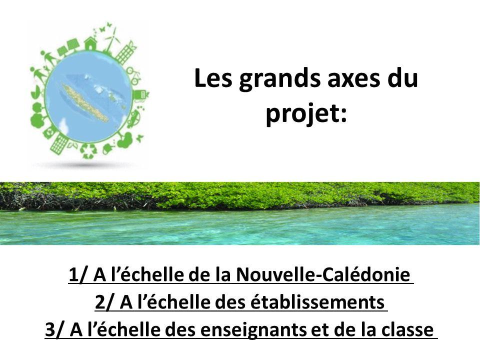 Les grands axes du projet: 1/ A l'échelle de la Nouvelle-Calédonie 2/ A l'échelle des établissements 3/ A l'échelle des enseignants et de la classe