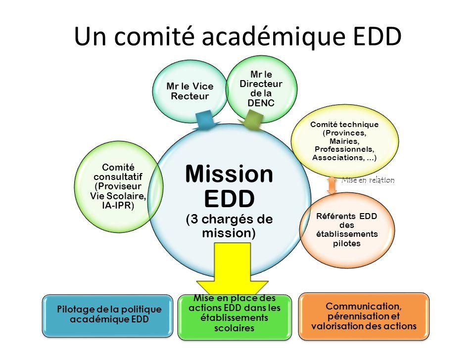 Un comité académique EDD Mise en relation Pilotage de la politique académique EDD Mise en place des actions EDD dans les établissements scolaires Comm