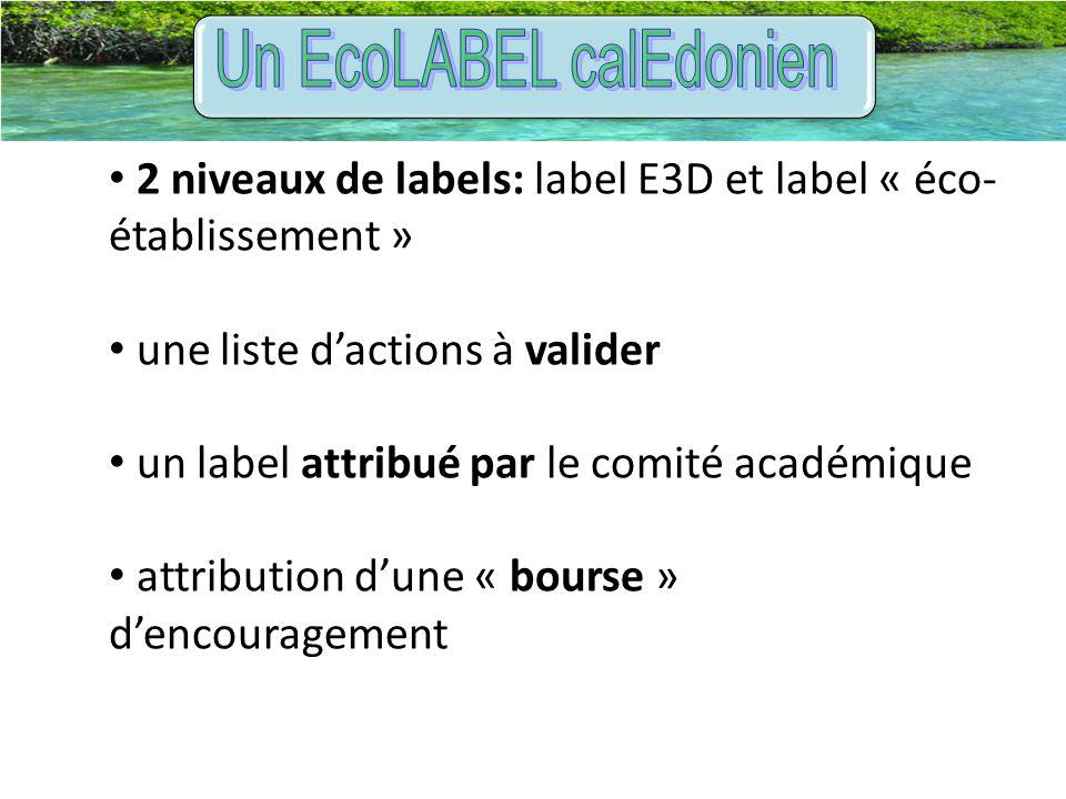 2 niveaux de labels: label E3D et label « éco- établissement » une liste d'actions à valider un label attribué par le comité académique attribution d'