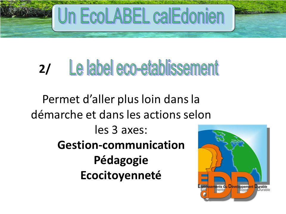2/ Permet d'aller plus loin dans la démarche et dans les actions selon les 3 axes: Gestion-communication Pédagogie Ecocitoyenneté