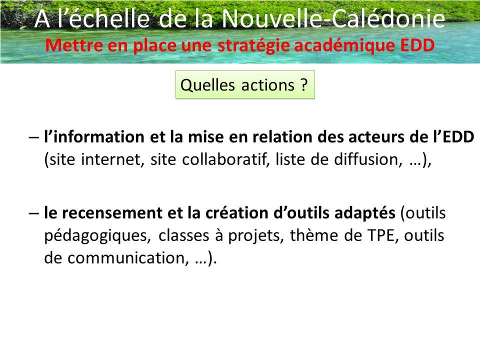– l'information et la mise en relation des acteurs de l'EDD (site internet, site collaboratif, liste de diffusion, …), – le recensement et la création