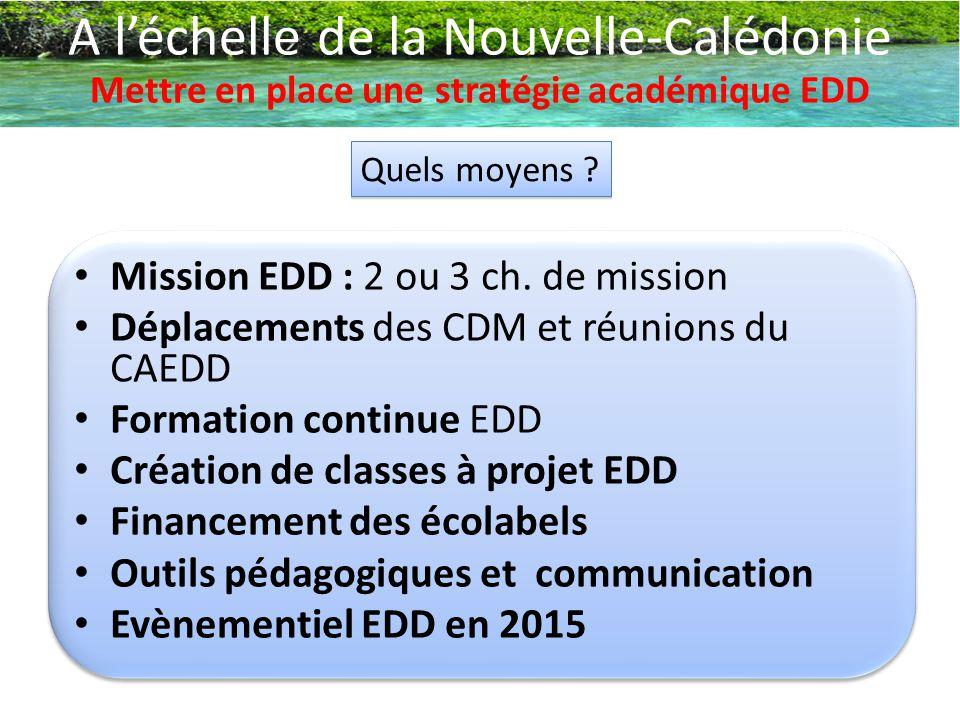 A l'échelle de la Nouvelle-Calédonie Mettre en place une stratégie académique EDD Quels moyens ? Mission EDD : 2 ou 3 ch. de mission Déplacements des