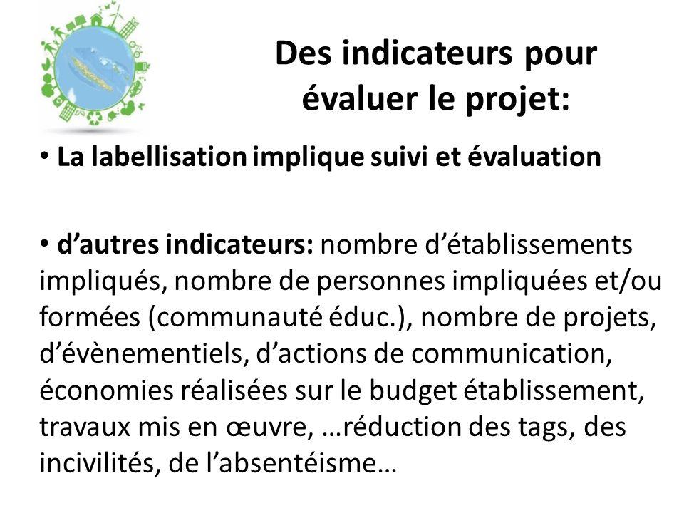 Des indicateurs pour évaluer le projet: La labellisation implique suivi et évaluation d'autres indicateurs: nombre d'établissements impliqués, nombre