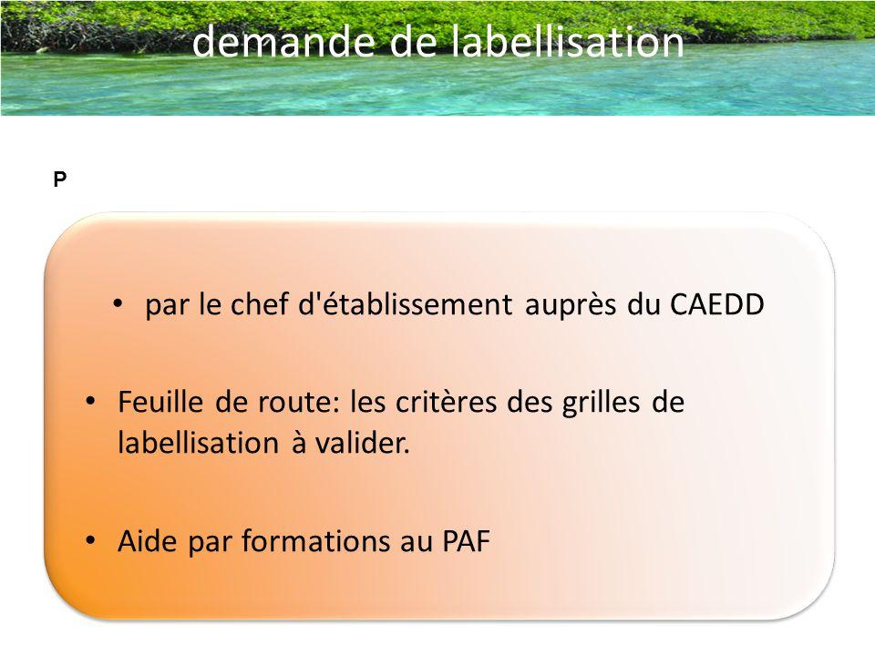 par le chef d'établissement auprès du CAEDD Feuille de route: les critères des grilles de labellisation à valider. Aide par formations au PAF demande