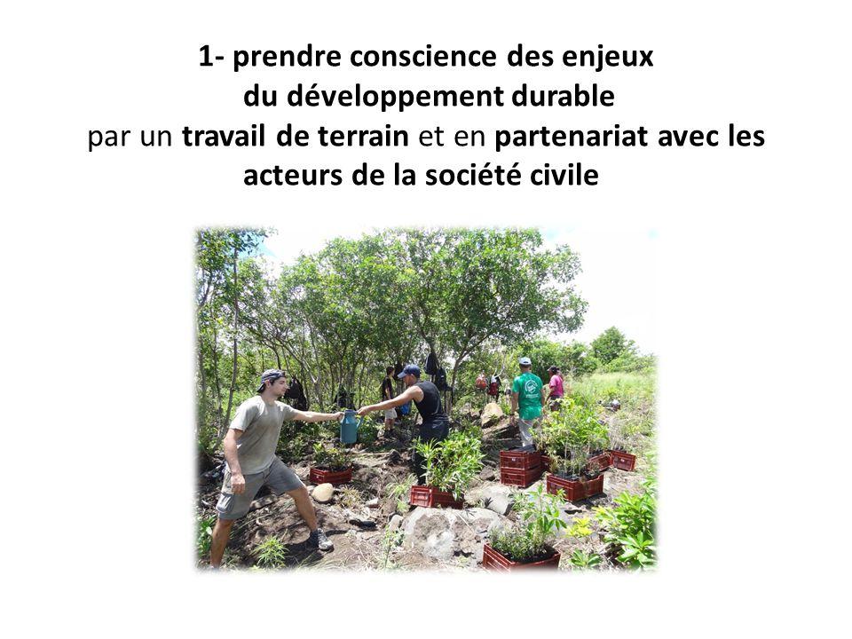 1- prendre conscience des enjeux du développement durable par un travail de terrain et en partenariat avec les acteurs de la société civile