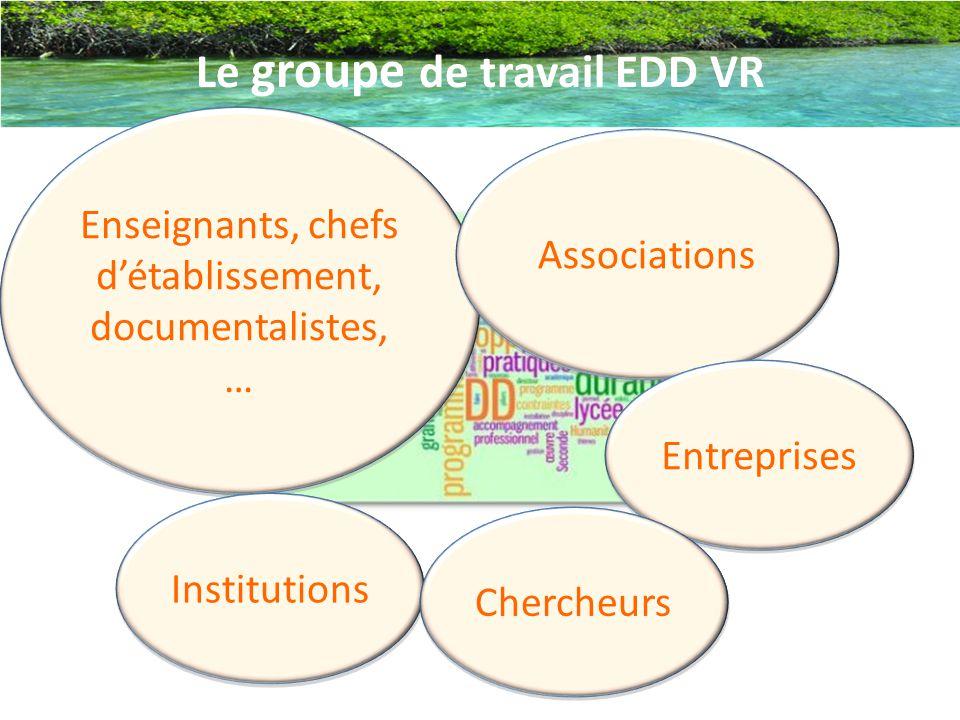 Le groupe de travail EDD VR Enseignants, chefs d'établissement, documentalistes, … Associations Entreprises Institutions Chercheurs