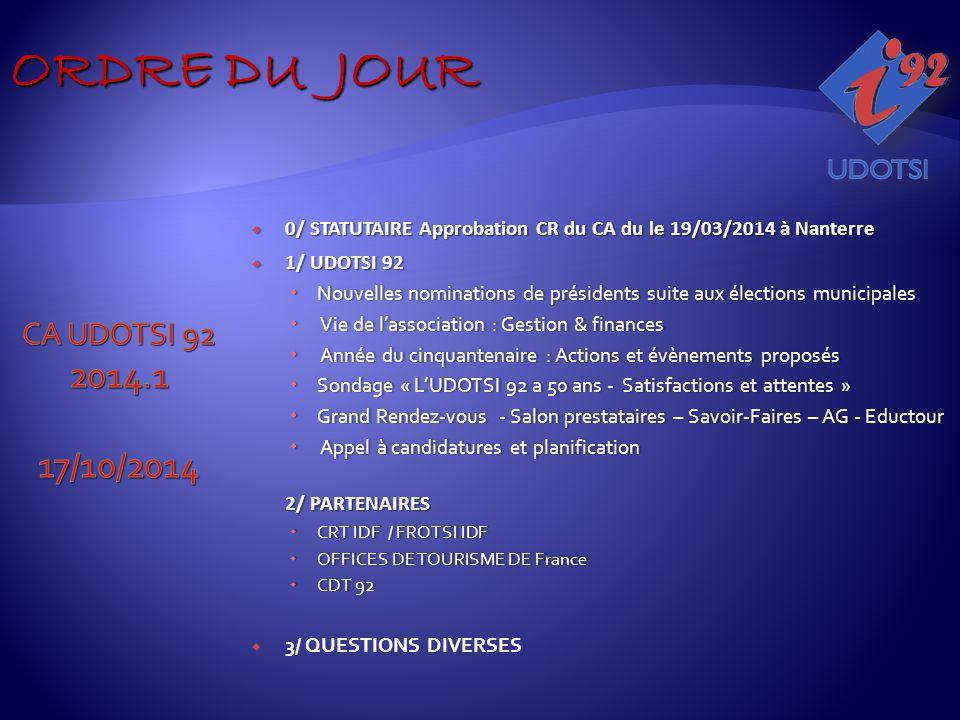  0/ STATUTAIRE Approbation CR du CA du le 19/03/2014 à Nanterre  1/ UDOTSI 92  Nouvelles nominations de présidents suite aux élections municipales