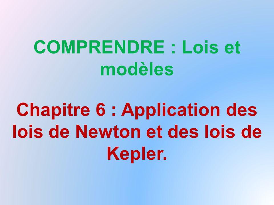 COMPRENDRE : Lois et modèles Chapitre 6 : Application des lois de Newton et des lois de Kepler.