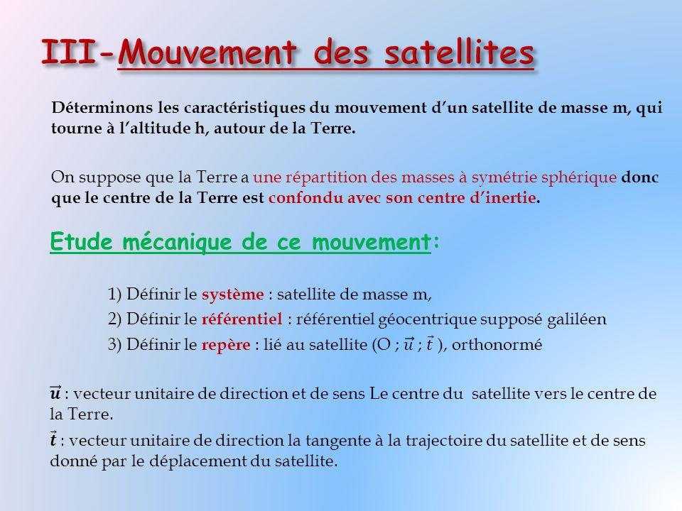 Déterminons les caractéristiques du mouvement d'un satellite de masse m, qui tourne à l'altitude h, autour de la Terre. On suppose que la Terre a une