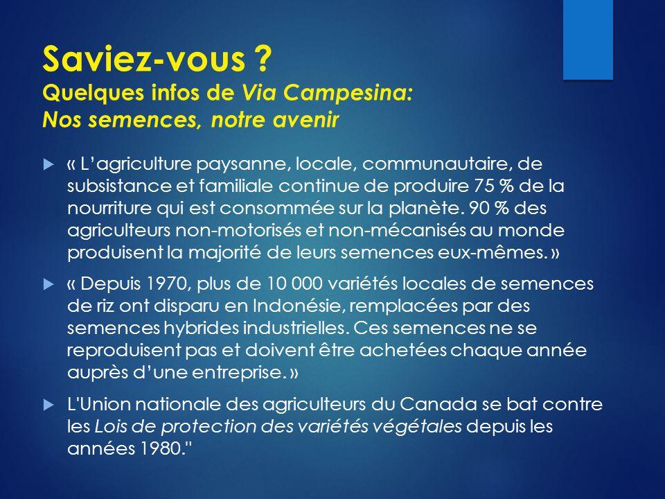 Saviez-vous ? Quelques infos de Via Campesina: Nos semences, notre avenir  « L'agriculture paysanne, locale, communautaire, de subsistance et familia