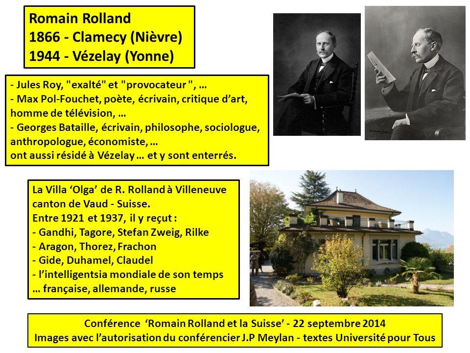 Romain Rolland 1866 - Clamecy (Nièvre) 1944 - Vézelay (Yonne) La Villa 'Olga' de R. Rolland à Villeneuve canton de Vaud - Suisse. Entre 1921 et 1937,