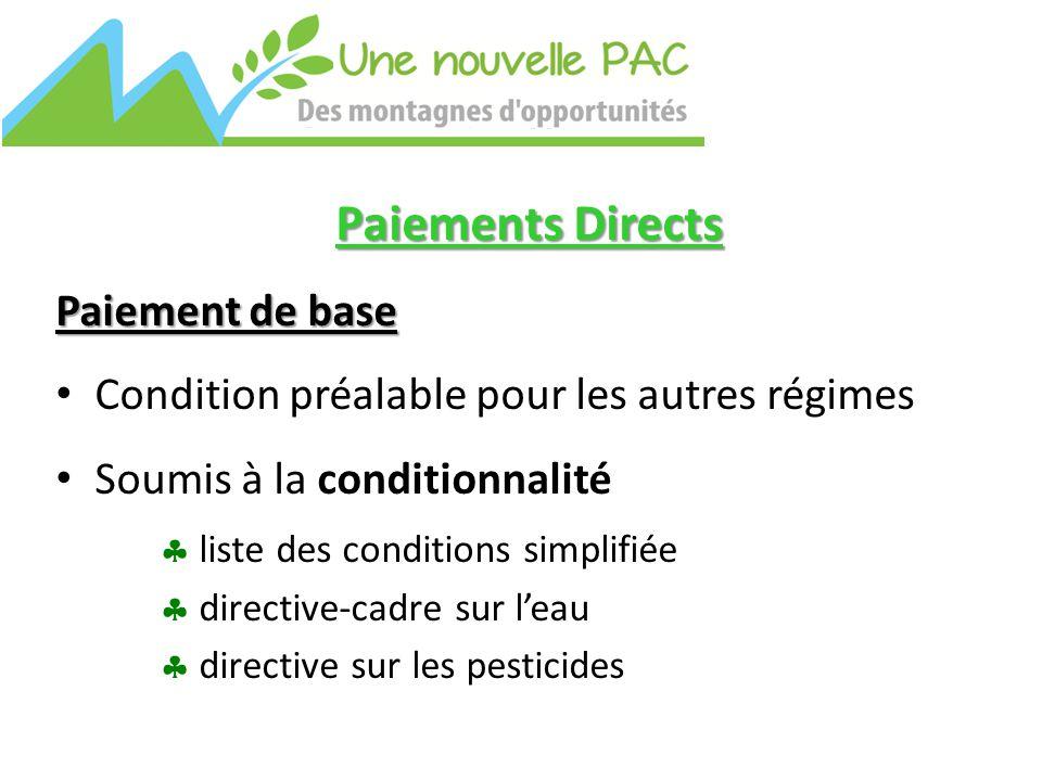 Paiements Directs Paiement de base Condition préalable pour les autres régimes Soumis à la conditionnalité  liste des conditions simplifiée  directive-cadre sur l'eau  directive sur les pesticides