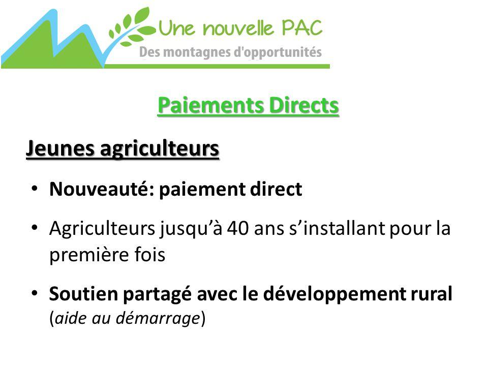 Paiements Directs Jeunes agriculteurs Nouveauté: paiement direct Agriculteurs jusqu'à 40 ans s'installant pour la première fois Soutien partagé avec le développement rural (aide au démarrage)