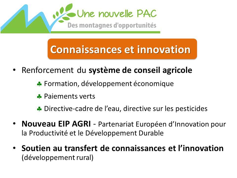 Connaissances et innovation Renforcement du système de conseil agricole  Formation, développement économique  Paiements verts  Directive-cadre de l'eau, directive sur les pesticides Nouveau EIP AGRI - Partenariat Européen d'Innovation pour la Productivité et le Développement Durable Soutien au transfert de connaissances et l'innovation (développement rural)
