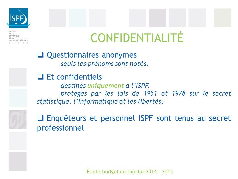 CONFIDENTIALITÉ  Questionnaires anonymes seuls les prénoms sont notés.