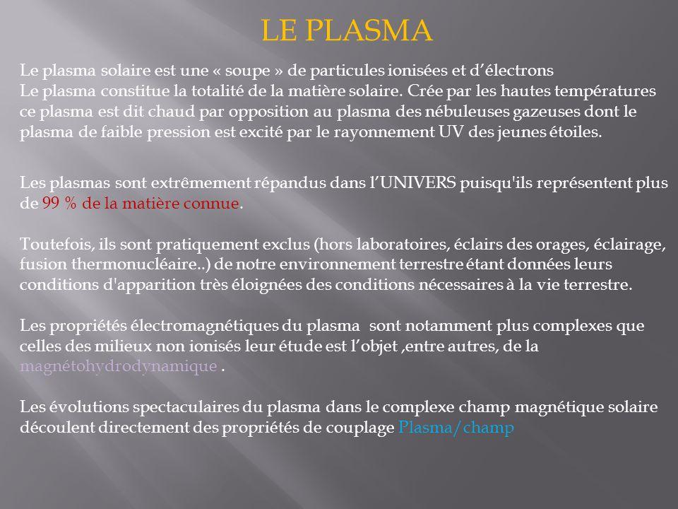 LE PLASMA Le plasma solaire est une « soupe » de particules ionisées et d'électrons Le plasma constitue la totalité de la matière solaire.