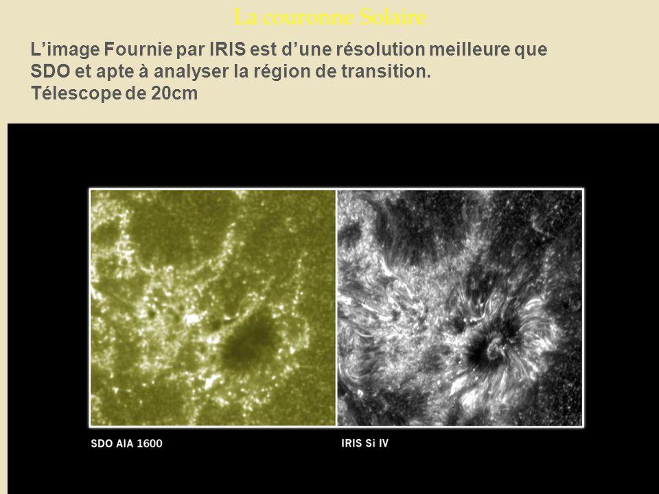 La couronne Solaire L'image Fournie par IRIS est d'une résolution meilleure que SDO et apte à analyser la région de transition.