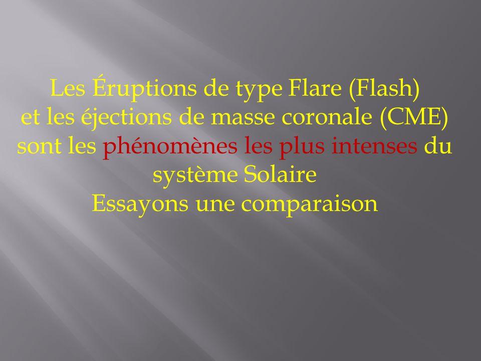 Les Éruptions de type Flare (Flash) et les éjections de masse coronale (CME) sont les phénomènes les plus intenses du système Solaire Essayons une comparaison