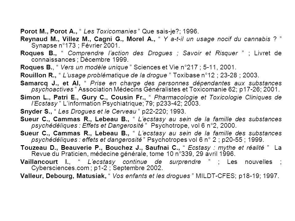 """Fontaa V., """" Le médecin et le toxicomane """" Guide Pratique ; 4ème édition; p18-250; 2003. Gibier L., """" Prise en Charge des Usagers de Drogues """" p37-51;"""