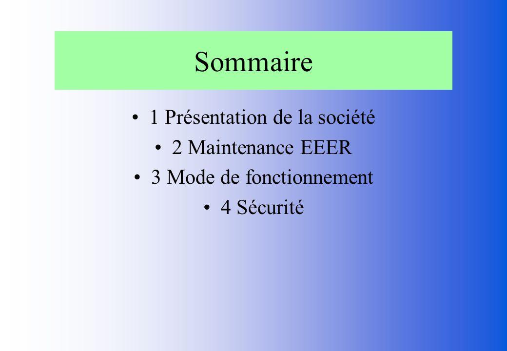 Sommaire 1 Présentation de la société 2 Maintenance EEER 3 Mode de fonctionnement 4 Sécurité