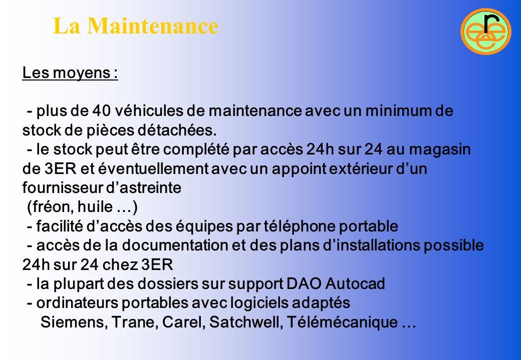 La Maintenance Les moyens : - plus de 40 véhicules de maintenance avec un minimum de stock de pièces détachées. - le stock peut être complété par accè