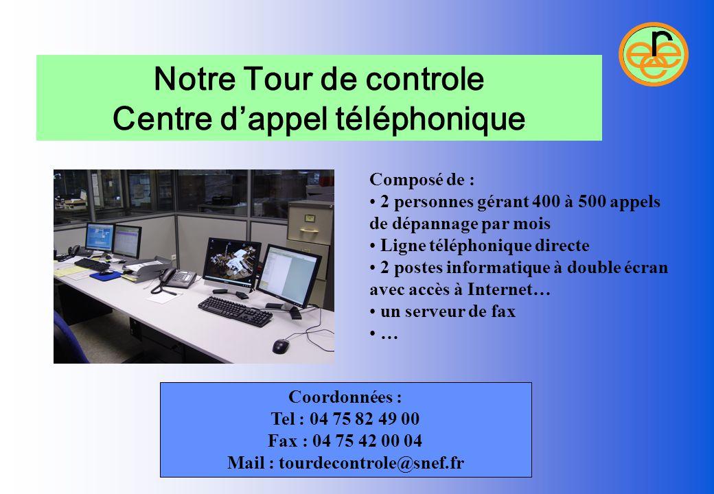 Notre Tour de controle Centre d'appel téléphonique Composé de : 2 personnes gérant 400 à 500 appels de dépannage par mois Ligne téléphonique directe 2