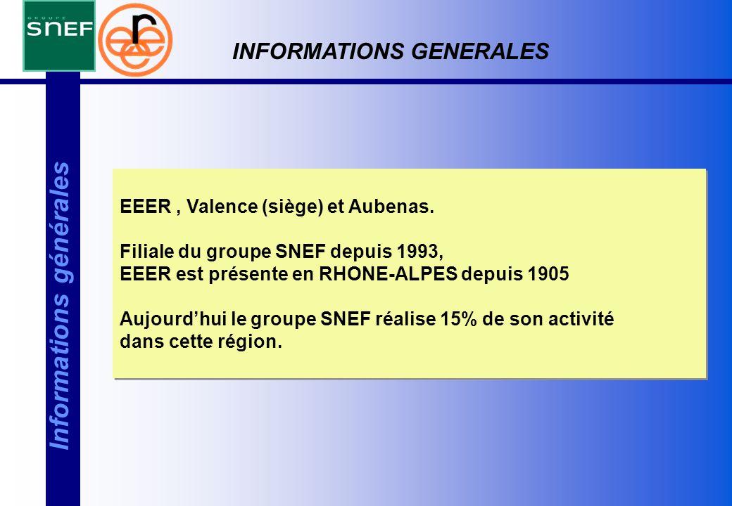 EEER, Valence (siège) et Aubenas. Filiale du groupe SNEF depuis 1993, EEER est présente en RHONE-ALPES depuis 1905 Aujourd'hui le groupe SNEF réalise
