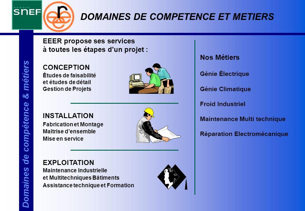 Domaines de compétence & métiers EEER propose ses services à toutes les étapes d'un projet : CONCEPTION Études de faisabilité et études de détail Gest