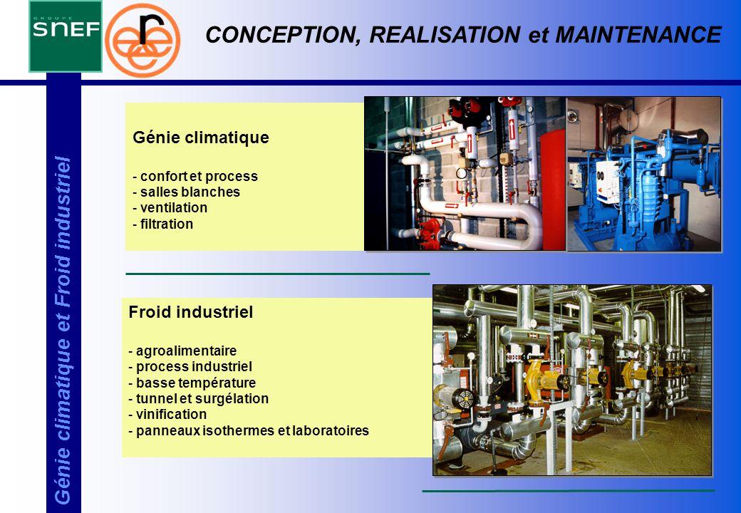 Génie climatique et Froid industriel Génie climatique - confort et process - salles blanches - ventilation - filtration CONCEPTION, REALISATION et MAI