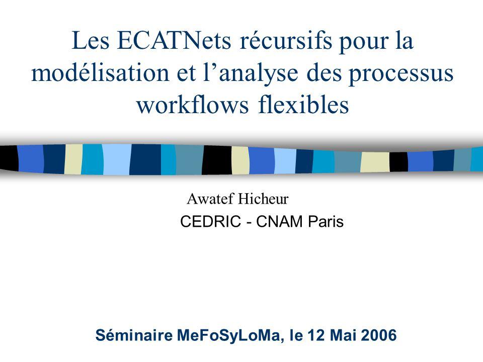Les ECATNets récursifs pour la modélisation et l'analyse des processus workflows flexibles Séminaire MeFoSyLoMa, le 12 Mai 2006 Awatef Hicheur CEDRIC - CNAM Paris