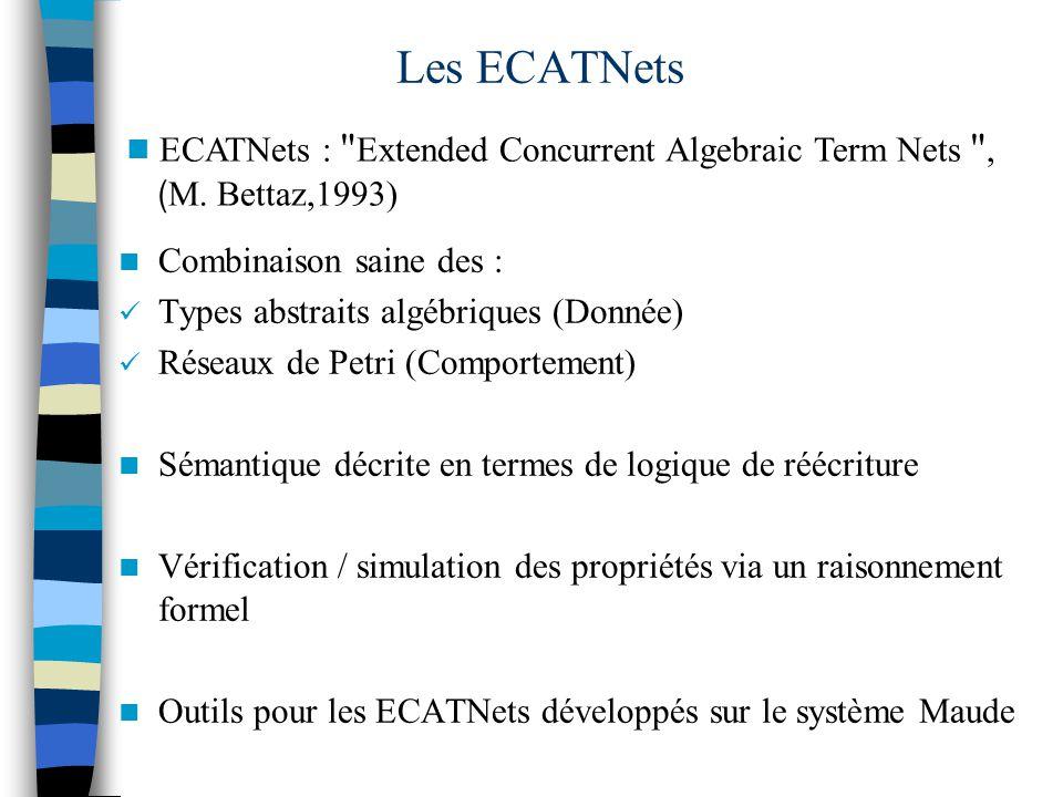 Combinaison saine des : Types abstraits algébriques (Donnée) Réseaux de Petri (Comportement) Sémantique décrite en termes de logique de réécriture Vérification / simulation des propriétés via un raisonnement formel Outils pour les ECATNets développés sur le système Maude Les ECATNets ECATNets : Extended Concurrent Algebraic Term Nets , ( M.