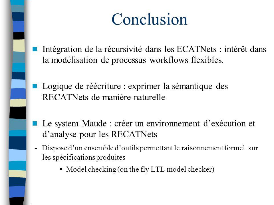 Conclusion Intégration de la récursivité dans les ECATNets : intérêt dans la modélisation de processus workflows flexibles.