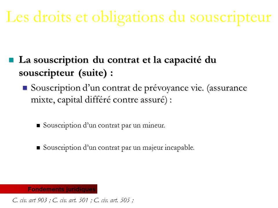 Fondements juridiques La souscription du contrat et la capacité du souscripteur (suite) : La souscription du contrat et la capacité du souscripteur (suite) : Souscription d'un contrat de prévoyance vie.