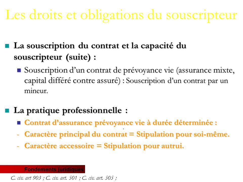 Fondements juridiques La souscription du contrat et la capacité du souscripteur (suite) : La souscription du contrat et la capacité du souscripteur (suite) : Souscription d'un contrat de prévoyance vie (assurance mixte, capital différé contre assuré) : Souscription d'un contrat par un mineur.