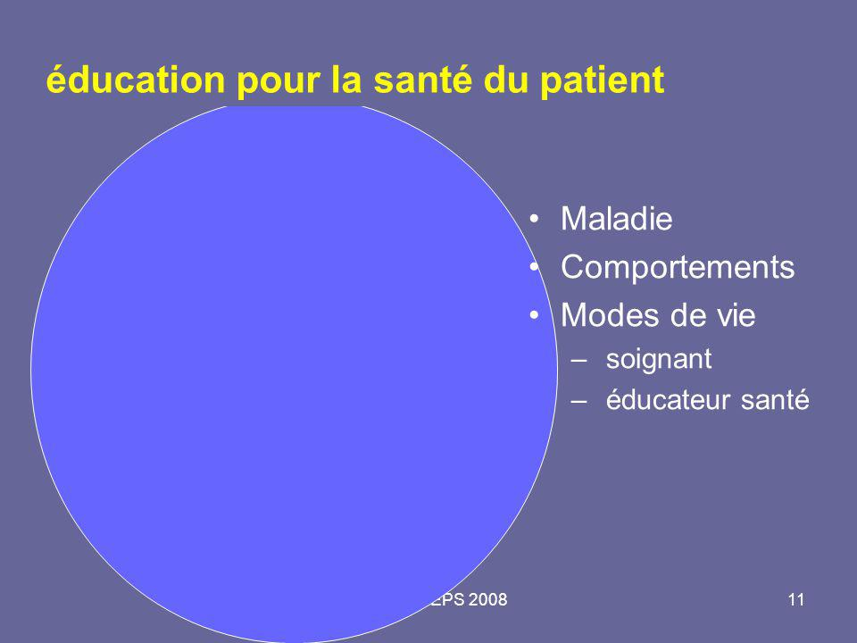 Master 2 PEPS 200811 éducation pour la santé du patient Maladie Comportements Modes de vie – soignant – éducateur santé