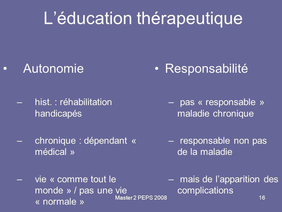 Master 2 PEPS 200816 L'éducation thérapeutique Autonomie –hist. : réhabilitation handicapés –chronique : dépendant « médical » –vie « comme tout le mo