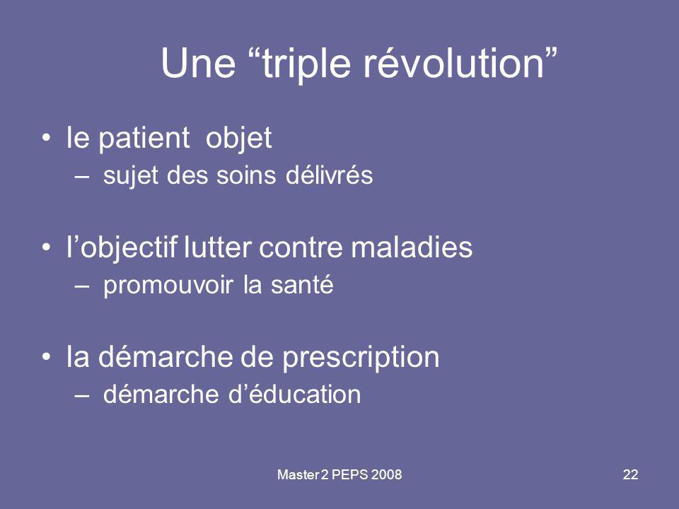 """Master 2 PEPS 200822 Une """"triple révolution"""" le patient objet – sujet des soins délivrés l'objectif lutter contre maladies – promouvoir la santé la dé"""