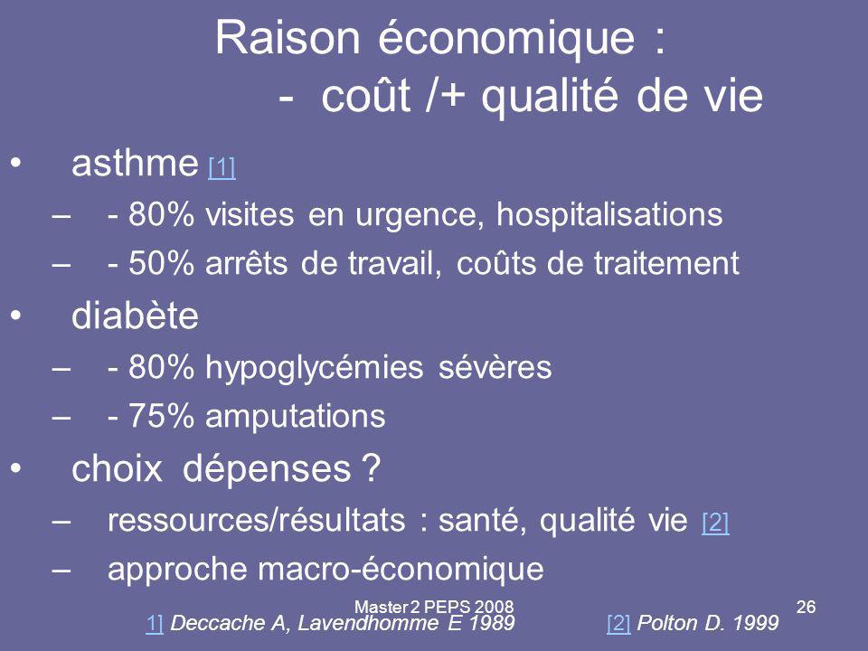 Master 2 PEPS 200826 Raison économique : - coût /+ qualité de vie asthme [1] [1] –- 80% visites en urgence, hospitalisations –- 50% arrêts de travail,