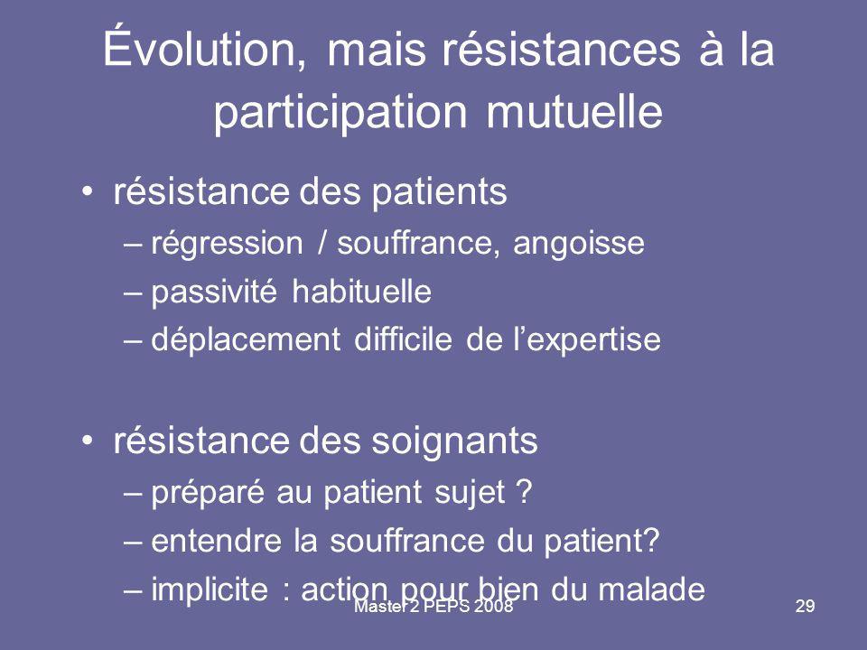Master 2 PEPS 200829 Évolution, mais résistances à la participation mutuelle résistance des patients –régression / souffrance, angoisse –passivité hab