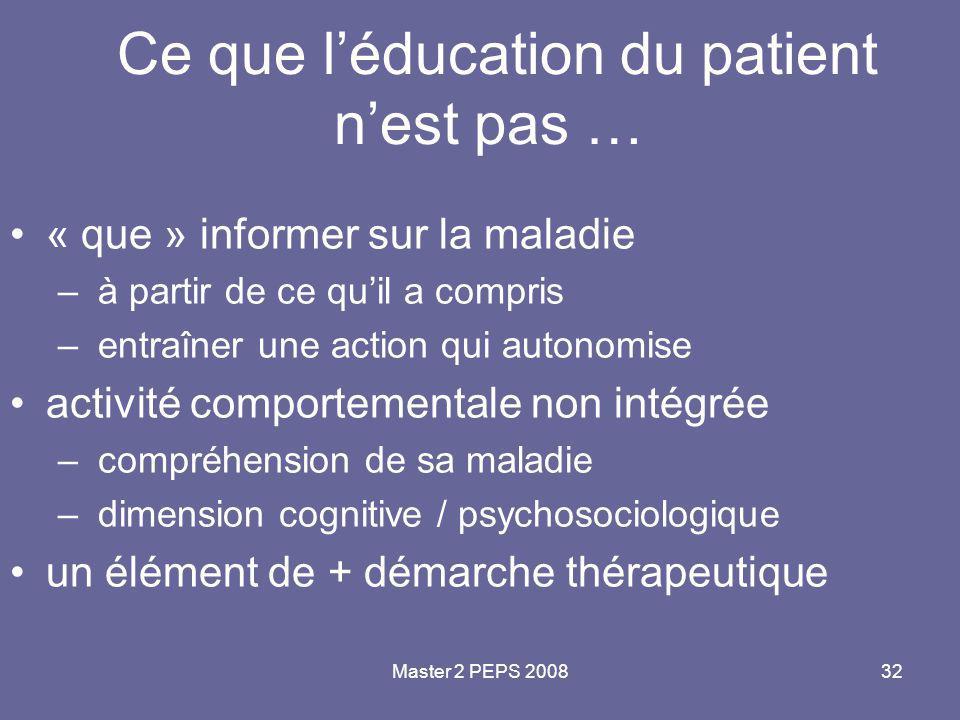 Master 2 PEPS 200832 Ce que l'éducation du patient n'est pas … « que » informer sur la maladie – à partir de ce qu'il a compris – entraîner une action
