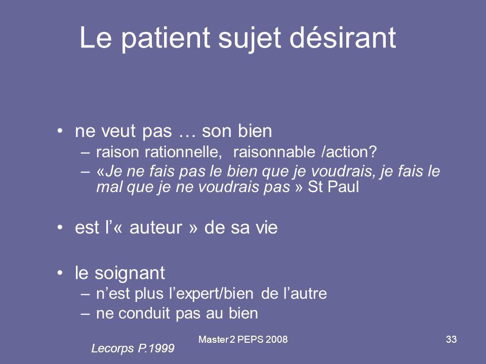 Master 2 PEPS 200833 Le patient sujet désirant ne veut pas … son bien –raison rationnelle, raisonnable /action? –«Je ne fais pas le bien que je voudra