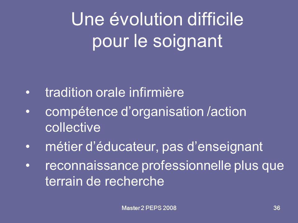 Master 2 PEPS 200836 Une évolution difficile pour le soignant tradition orale infirmière compétence d'organisation /action collective métier d'éducate