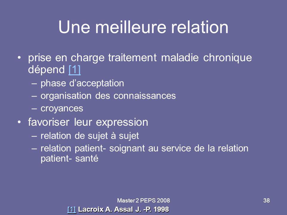 Master 2 PEPS 200838 Une meilleure relation prise en charge traitement maladie chronique dépend [1][1] –phase d'acceptation –organisation des connaiss