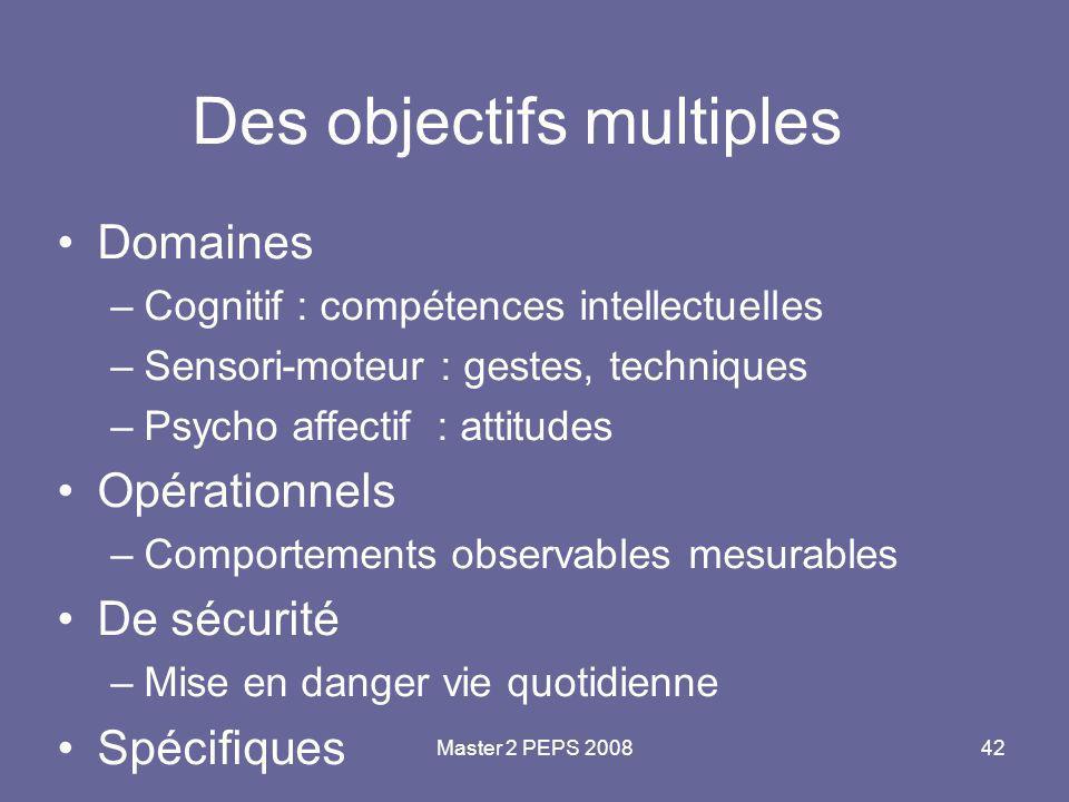 Master 2 PEPS 200842 Des objectifs multiples Domaines –Cognitif : compétences intellectuelles –Sensori-moteur : gestes, techniques –Psycho affectif :